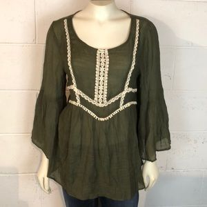 Entro Bell Sleeve Top Size L Boho Style